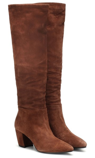 Prada suede knee-high boots in brown