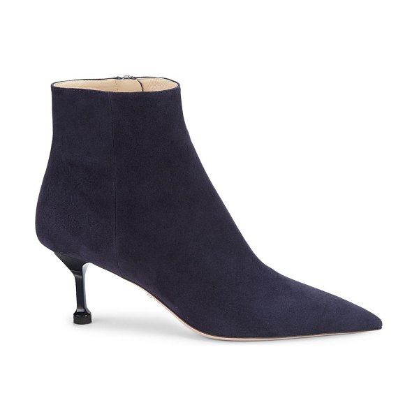 Prada point-toe suede ankle boots in tan,blue