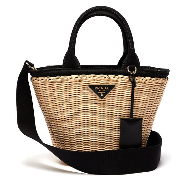 Prada wicker and canvas basket bag in black cream
