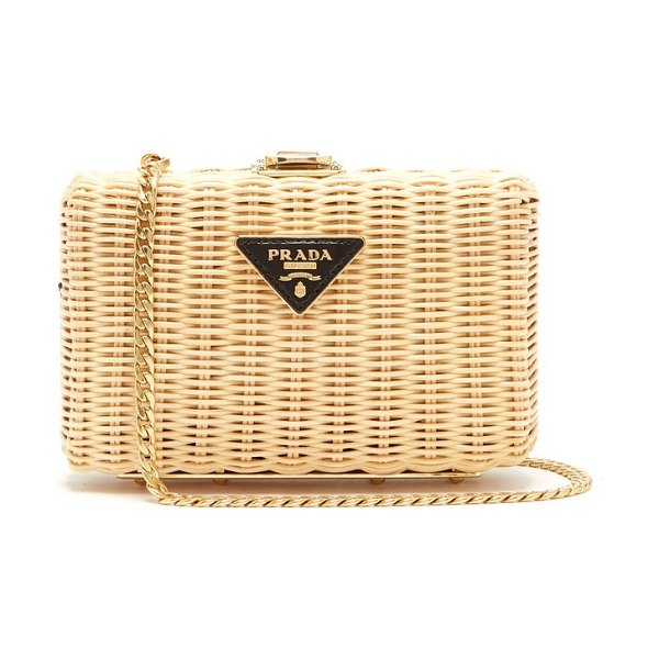 Prada Woven Rattan Clutch in beige multi - Prada - Prada showcases its innovative approach to...
