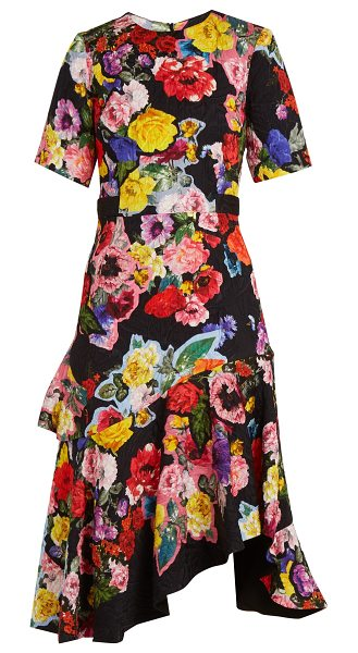 Preen by Thornton Bregazzi Elizabeth Floral Print Matelassé Dress in black multi - Preen By Thornton Bregazzi - Preen By Thornton...