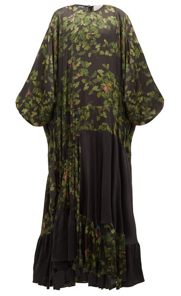 Preen by Thornton Bregazzi harper leaf-print satin maxi dress in black multi