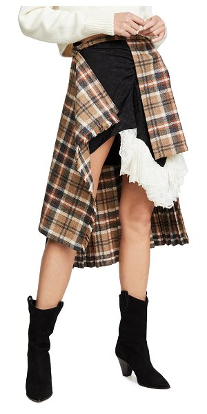 Preen by Thornton Bregazzi idana skirt in camel tartan/black