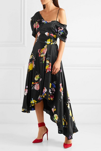 Preen by Thornton Bregazzi irene asymmetric floral-print silk-satin dress in black - Justin Thornton and Thea Bregazzi's designs are a...