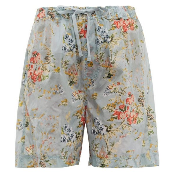 Preen by Thornton Bregazzi isabelle tapestry-print ripstop shorts in light blue