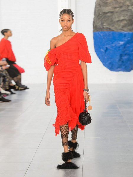 Preen by Thornton Bregazzi kesia asymmetric georgette dress in red - Preen By Thornton Bregazzi - Preen by Thornton...