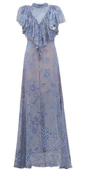 Preen by Thornton Bregazzi lyla graphic-print ruffled devoré maxi dress in blue