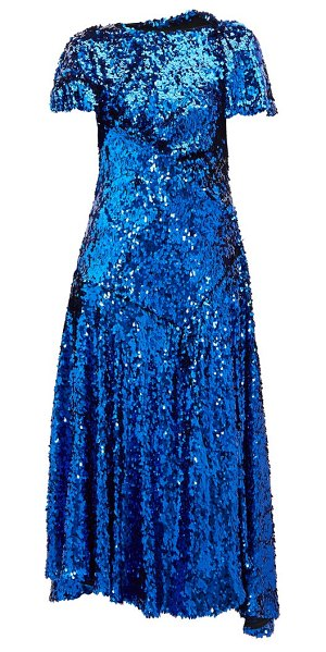 Preen by Thornton Bregazzi mia gathered sequinned dress in blue