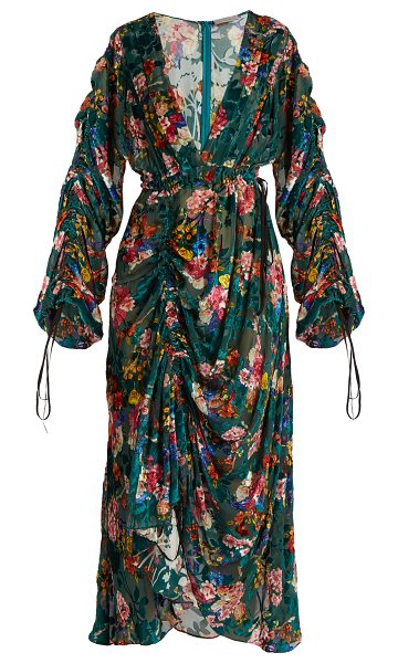PREEN BY THORNTON BREGAZZI Opal floral-print velvet-devoré midi dress in green multi - Preen By Thornton Bregazzi's teal-green Opal dress...