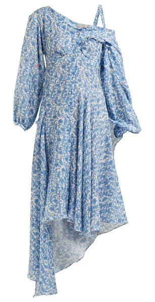 Preen by Thornton Bregazzi Soeroya Floral Print Silk Blend Dress in blue print - Preen By Thornton Bregazzi - Preen by Thornton...