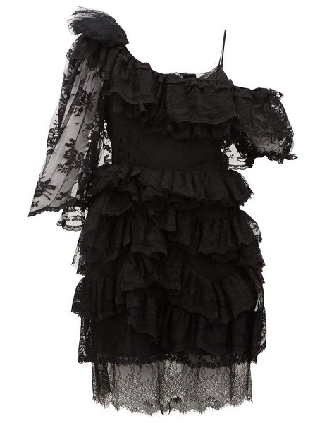 Preen by Thornton Bregazzi valerie one-shoulder tiered lace dress in black