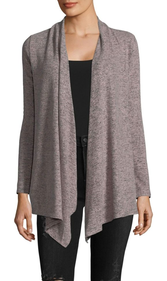 PREMISE STUDIO Asymmetrical Long Sleeve Cardigan in light grey - Draped front cardigan with handkerchief hem. Open front....