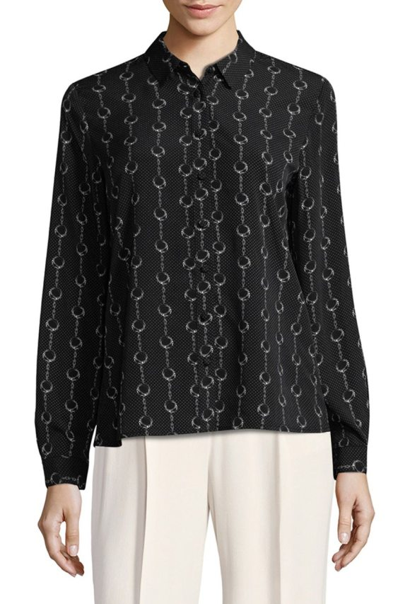 PREMISE STUDIO Chain Printed Collared Shirt - Collared shirt showcasing an allover graphic. Spread...