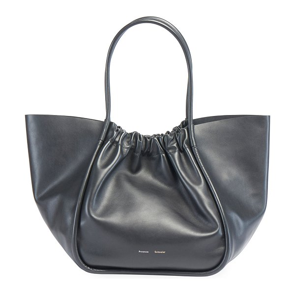 Proenza Schouler Extra Large Ruched Smooth Tote Bag in black