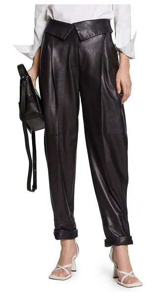 Proenza Schouler foldover waist pleated leather pants in black