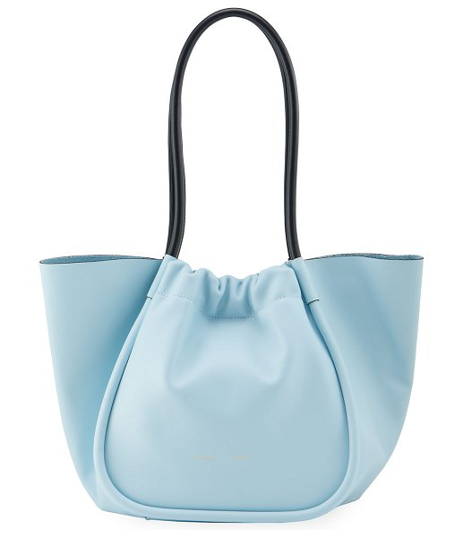 Proenza Schouler Large Ruched Smooth Leather Tote Bag in baby blue