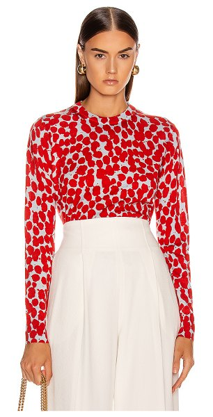 Proenza Schouler long sleeve printed spots top in light blue & red