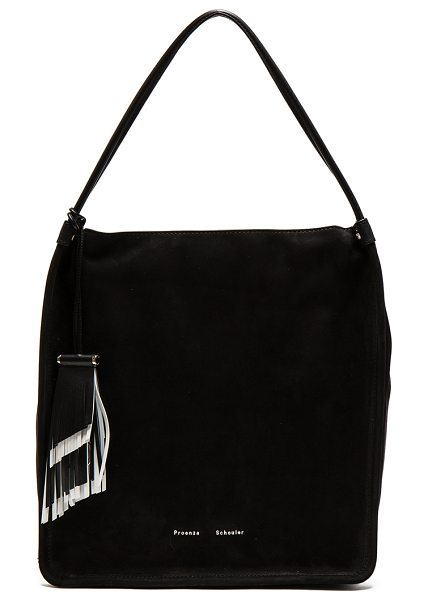 "Proenza Schouler Medium Tote Nubuck in black - ""Nubuck leather with raw lining and silver-tone..."