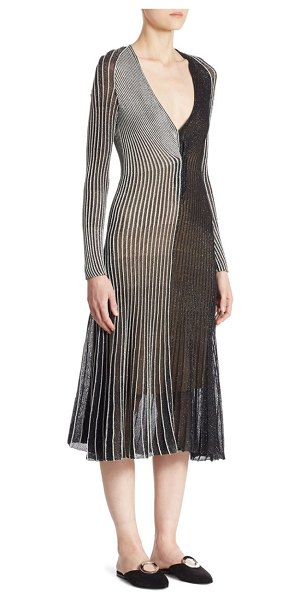 Proenza Schouler pleated metallic dress in silver - On-trend pleated dress in shimmering metallic finish....