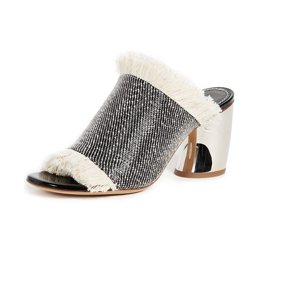 PROENZA SCHOULER mule sandals - A checkered weave and soft fringe add eclectic style to...