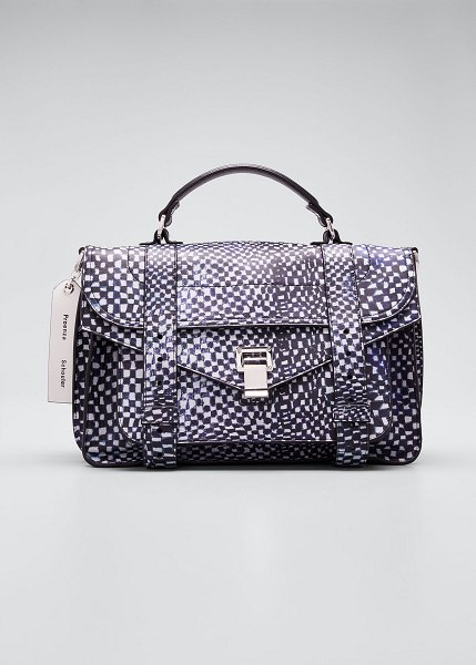 Proenza Schouler Ps1 Micro Printed Leather Top-Handle Bag in blue pattern