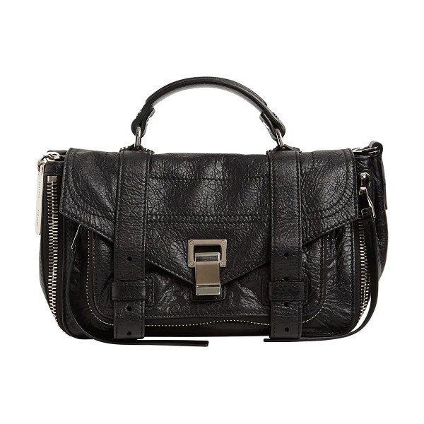 Proenza Schouler Ps1 tiny zipped leather top handle bag in black