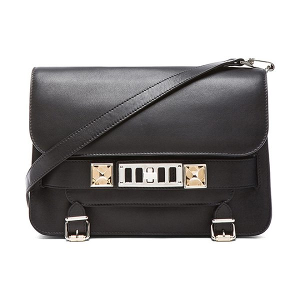 "Proenza Schouler PS11 Classic Shoulder Bag in black - ""Genuine leather with signature jacquard fabric lining..."