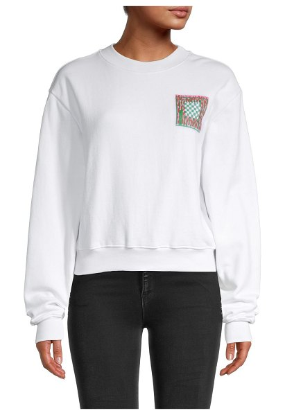 Proenza Schouler PSWL Abstract Block Graphic Crop Sweatshirt in white