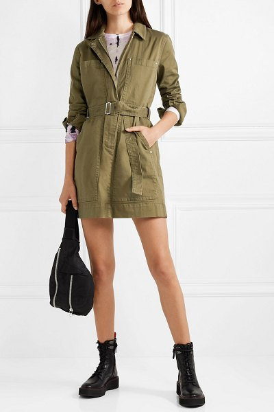 Proenza Schouler pswl belted cotton-blend twill mini dress in army green - There are so many reasons why utility dressing will...