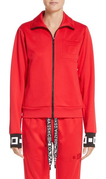 Proenza Schouler pswl jersey track jacket in poppy - Bold graphics brand the cuffs of this streetwise track...