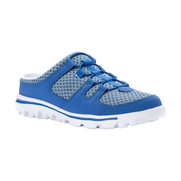 Propet travelactiv mesh slide sneaker in blue fabric
