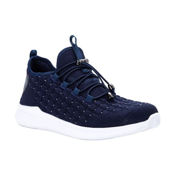 Propet travelbound stretch sneaker in navy metallic fabric