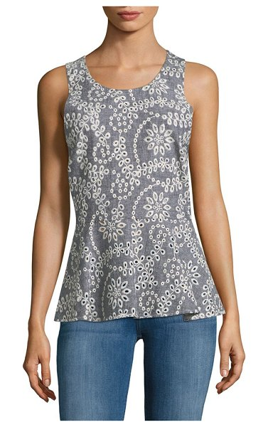Prose & Poetry Crisscross Keyhole Top in cornflower - Embroidered cotton-blend top with peplum hem. Roundneck....