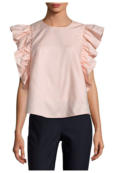 Prose & Poetry Flounce Cotton Blouse in pink - Woven cotton blouse enhanced by ruffled sleeves....