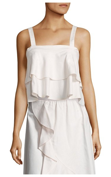 Prose & Poetry Jolie Bow-Back Cotton Camisole in french vanilla - Oversized bow accents cropped, tiered camisole....