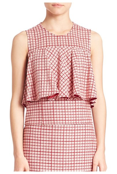 Prose & Poetry Popover Checked Top in pink - Checked top highlighted with a popover bodice....