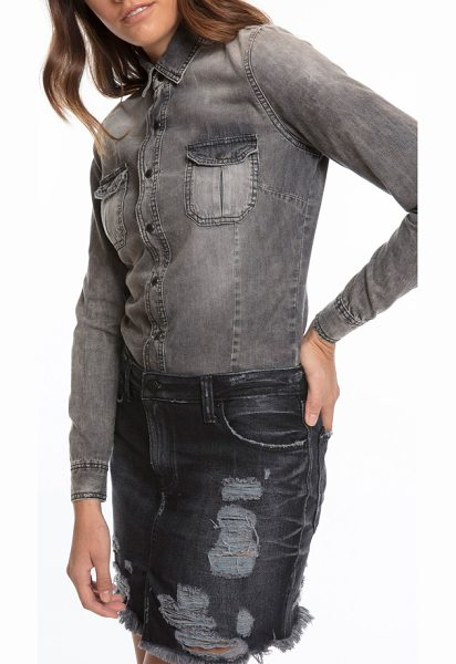 PRPS mixed media denim shirtdress in black - This two-tone shirtdress is heavily ripped, enhancing...