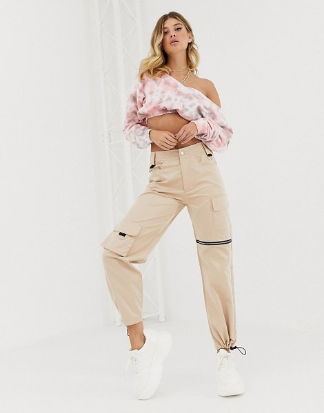 Public Desire relaxed cargo pants with zip and pocket detail-beige in beige
