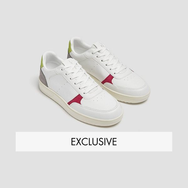 Pull & Bear retro sneakers in white with color block in white