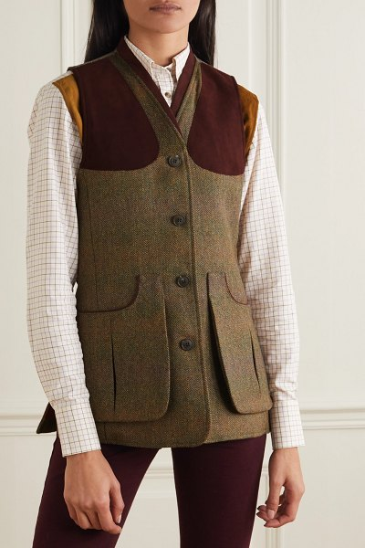 Purdey alcantara-trimmed checked wool-tweed vest in army green
