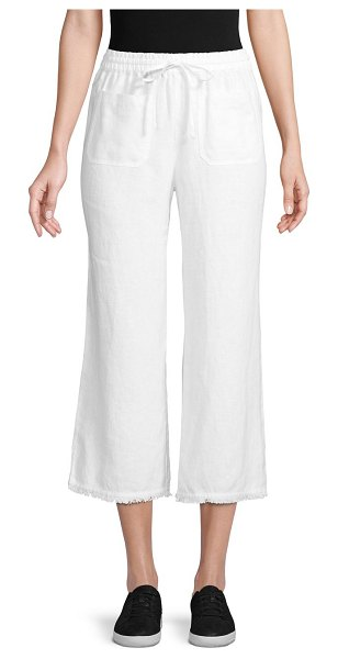 Pure Navy Frayed Edge Linen Pants in white