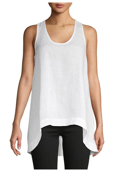 Pure Navy High-Low Linen Tank Top in white