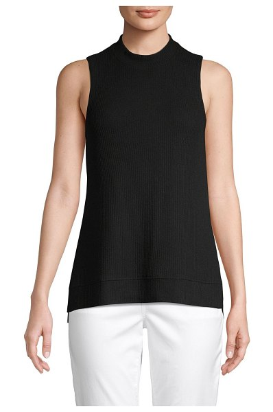 Pure Navy High-Low Sleeveless Top in black