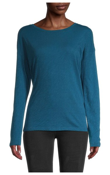 Pure Navy Long-Sleeve Cotton Top in midnight