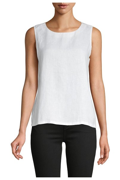 Pure Navy Sleeveless Linen Top in white