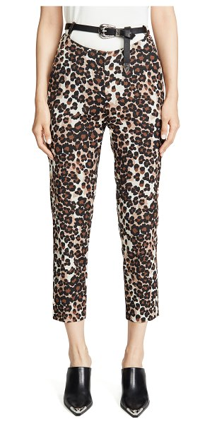 pushBUTTON leopard print pants in brown