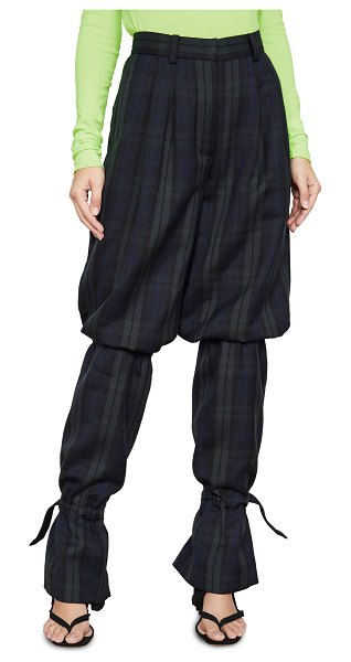 pushBUTTON sausage legs pants in green/navy