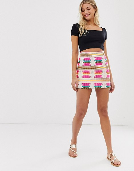 QED London bright tapestry mini skirt in cream