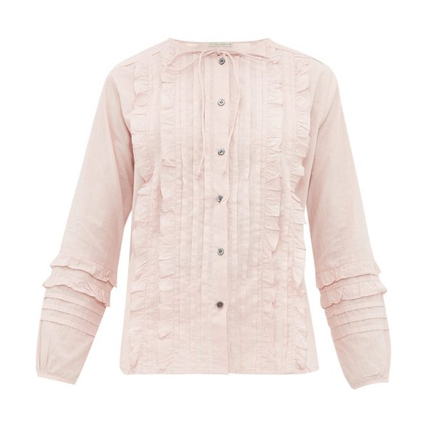 QUEENE AND BELLE ashley ruffled and pleated cotton blouse in light pink