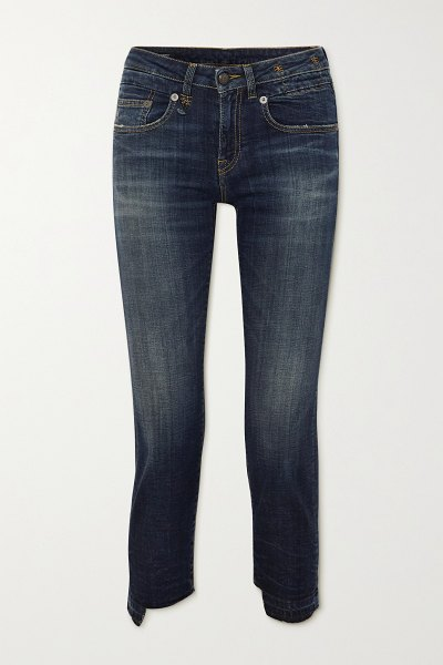 R13 boy straight frayed mid-rise jeans in blue